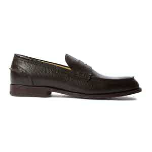 Brown Grained Calfskin Leather Penny Loafers