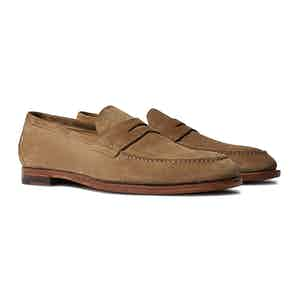 Beige Suede Leather Stefano Penny Loafers
