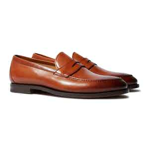 Cognac Calfskin Stefano Penny Loafers