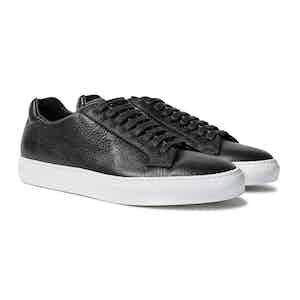 Black Deer Printed Calfskin Low Top Sneakers