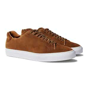 Brown Suede Leather Low Top Sneakers