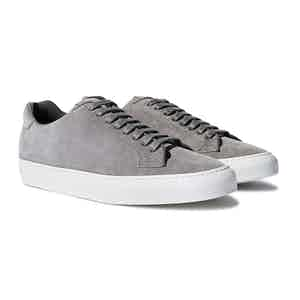 Grey Suede Leather Low Top Sneakers