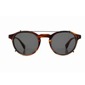 Caramel Alex Optical Frames with Green Clip-ons