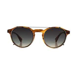 Honey Stripe Alex Optical Frames with Blue Clip-ons