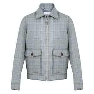Stone Blue Wool-Linen Check Jacket