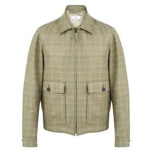 Tan Wool-Linen Check Jacket