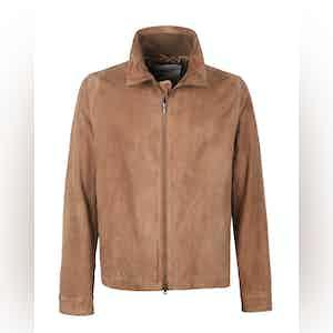 Tan Suede Full-Zip Jacket