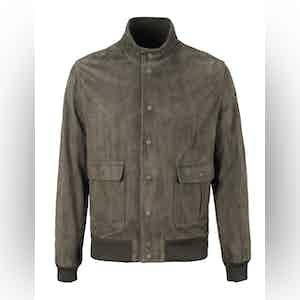 Dark Green Unlined Suede Jacket
