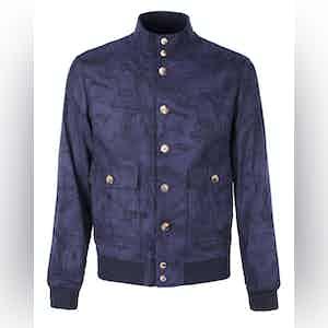 Navy Leaf Cotton Valstarino Jacket