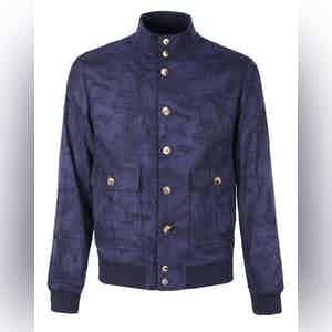 Navy Leaf Cotton Valstarino Jacket