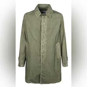 Khaki Cotton Garment-Dyed Trenchcoat
