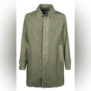 Khaki Cotton Garment-Dyed Trenchcoat