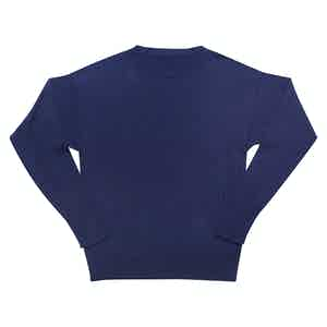 Soft Cotton Fine Cable Navy Sweater