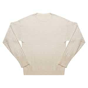Soft Cotton Fine Cable Cream Sweater
