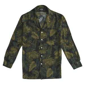 Black and Green Burt Long Sleeve Floral Shirt