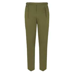 Khaki Green Sfoderato Business Trousers