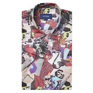Multi-Coloured Art Deco Contemporary Fit Print Poplin Shirt
