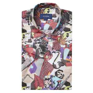 Multi-Coloured Art Deco Contemporary Fit Print Poplin Shirt