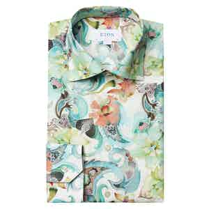 Green Floral Water Colour Contemporary Fit Twill Shirt