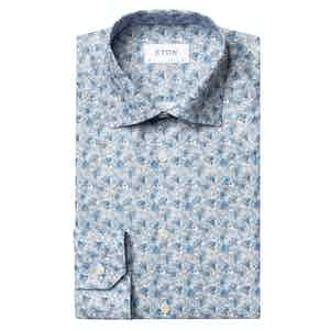 Blue Floral Contemporary Fit Twill Shirt