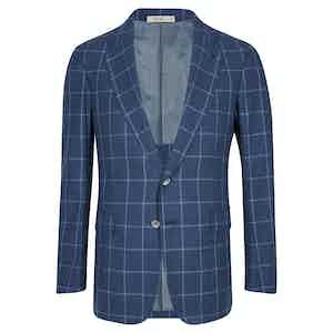 Blue Windowpane Single Breasted Jacket