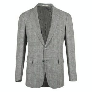 Black & White Prince of Wales Linen Wool Single Breasted Jacket