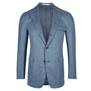 Cifonelli Aegean Blue Linen-Cotton Hugo Single Breasted Jacket