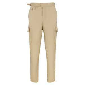 Beige Cotton Cargo Trousers