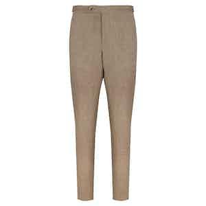 Beige Linen Wool Trousers