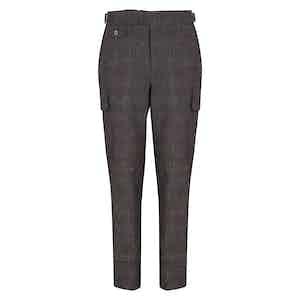 Brown Windowpane Cargo Trousers