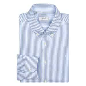 Blue Striped Slim Cotton Shirt