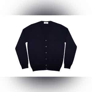 Navy Blue Merino Wool Cardigan