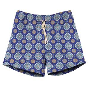 Celeste Blue Print Swimshorts