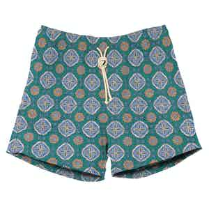 Green and Blue Print Swimshorts