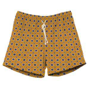 Mustard Yellow Print Swimshorts