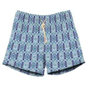 Blue Geometrical Print Swimshorts