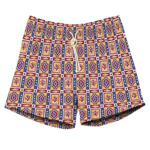 Tricolor Geometrical Print Swimming Shorts.