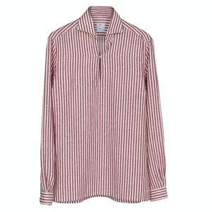 Red Striped Linen Capri Shirt
