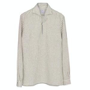 Sand Striped Linen Capri Shirt