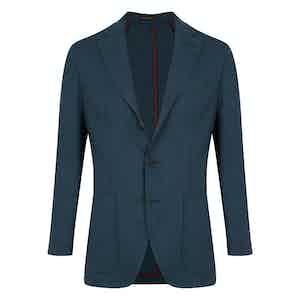 Blue Linen Single Breasted Jacket