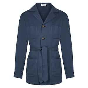 Blue Herringbone Wool And Cotton Sahariana