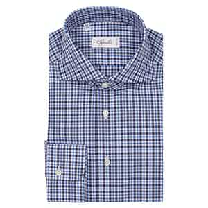 Navy Check Classica Spread Collar Cotton Shirt