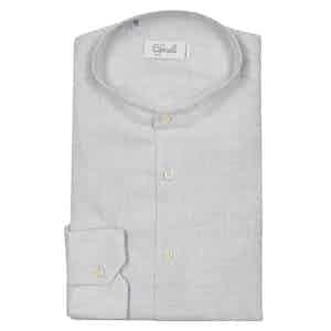 White Collarless Chambray Cotton Shirt