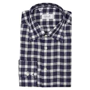 Navy and White Check Cotton Shirt