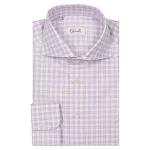 Light Pink Check Classica Spread Collar Cotton Shirt