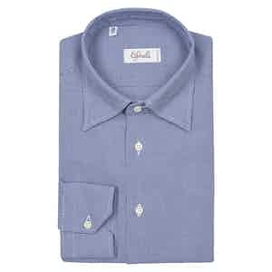 Blue Houndstooth Slim Cotton Shirt