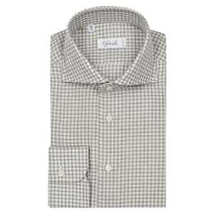 Grey Gingham Classica Spread Collar Cotton Shirt