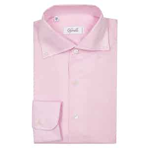 Pink Spread Collar Button Down Pique Shirt