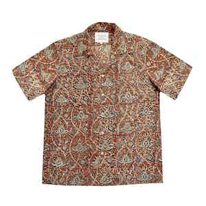 Red Block Print Short Sleeved Shirt