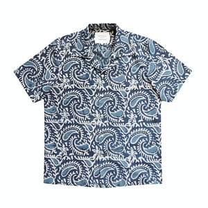 Indigo Block Print Short Sleeved Shirt